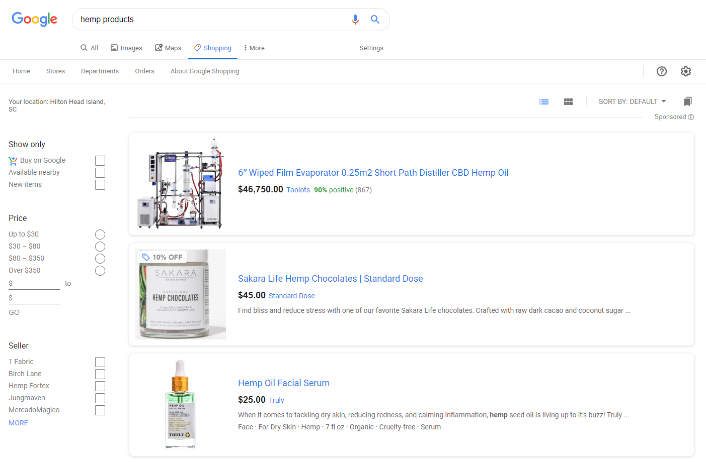 Screenshot of the results page from Google Shopping