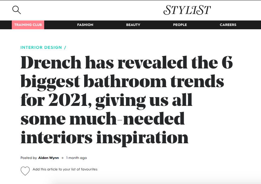 Example of coverage for Drench - Content Marketing for Bathroom sector - Evolved Search