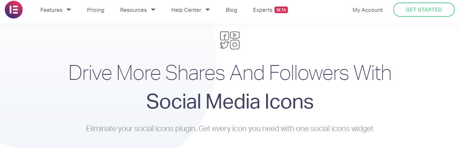Elementor features social media