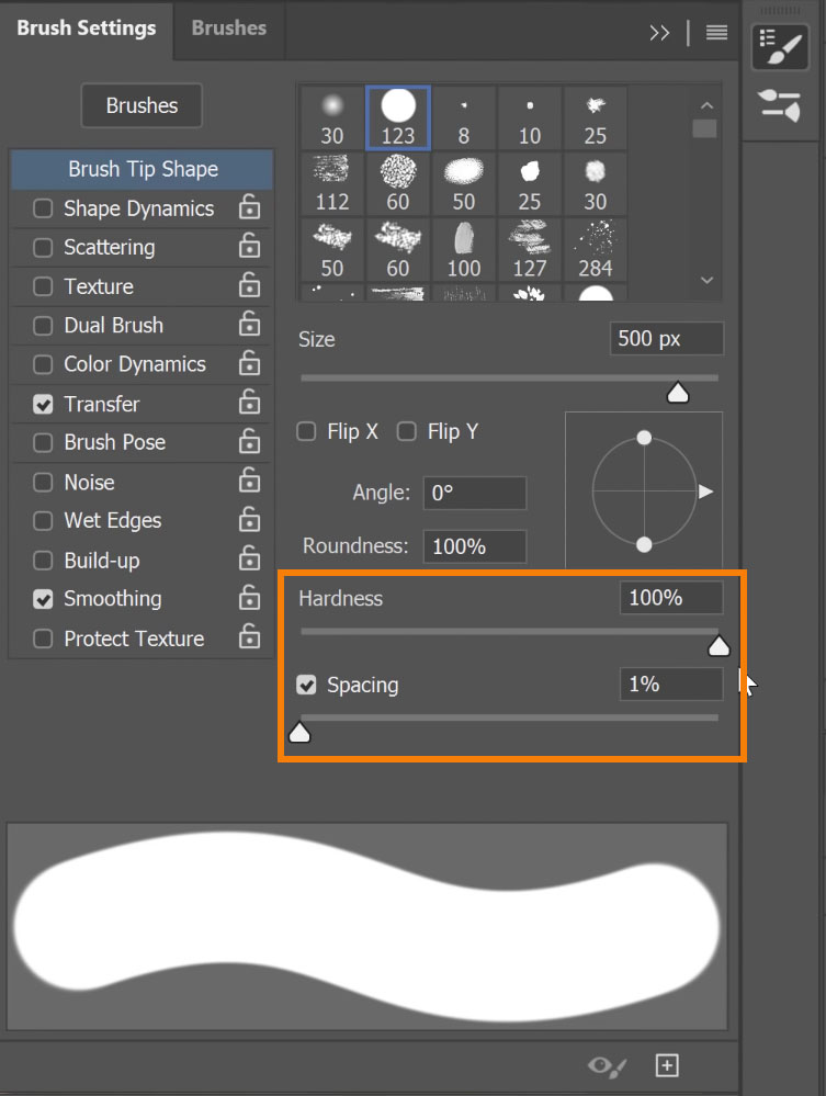 Adjust Brush Hardness and Brush spacing
