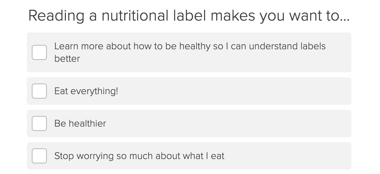 reading a nutritional label question with behaviors people might exhibit