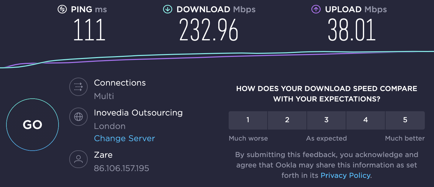 Speed test results on London server