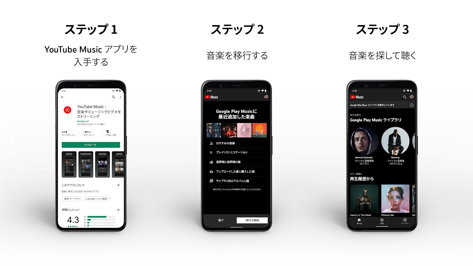 Google プレイ ミュージック 移行