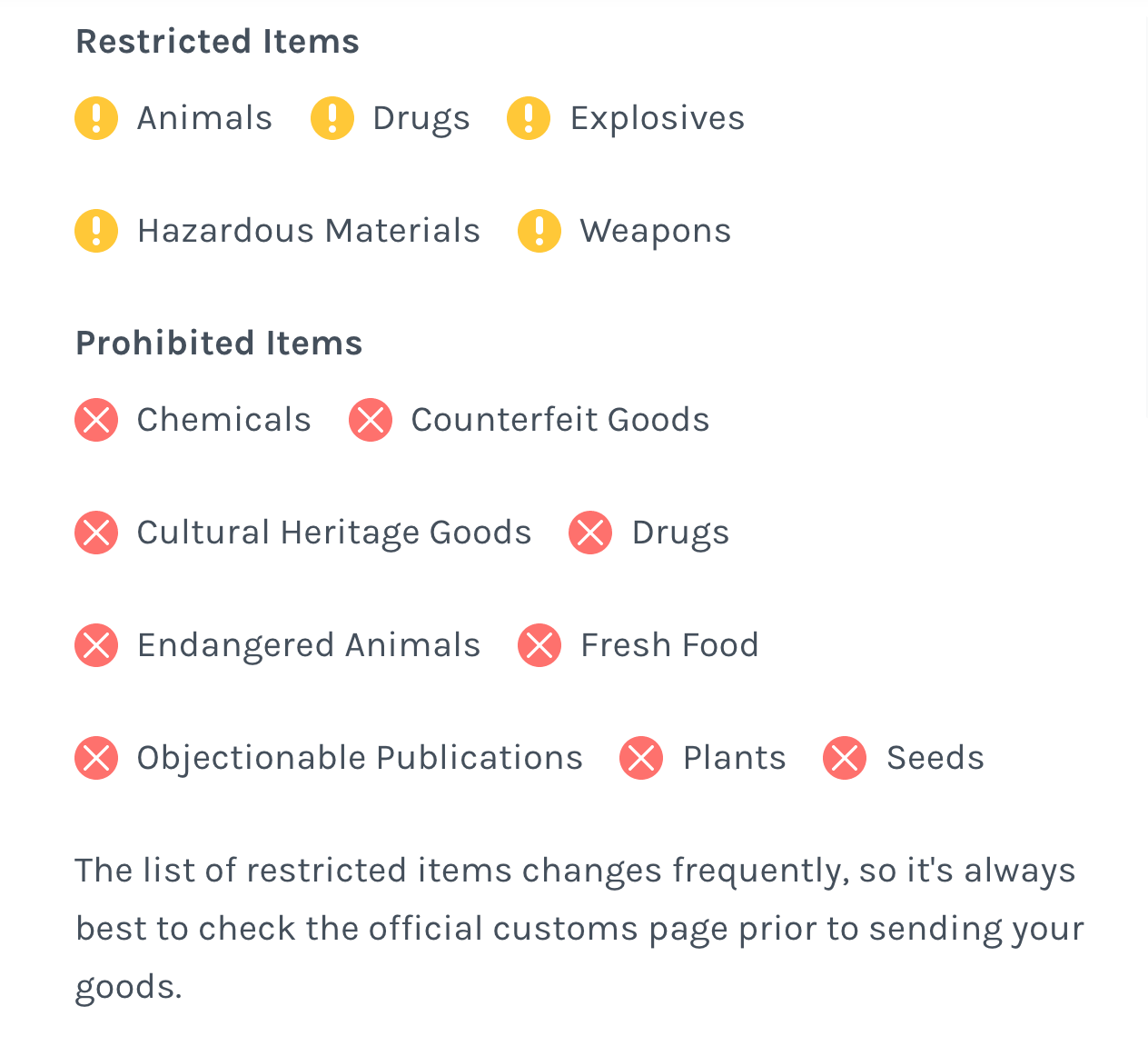 List of restricted and prohibited items in the US