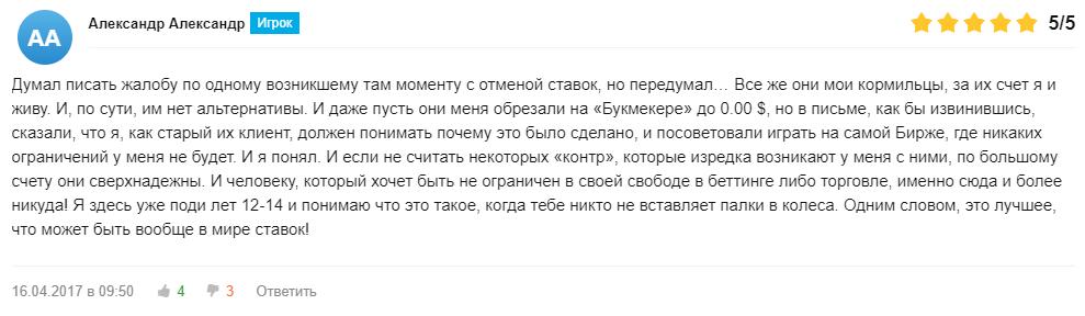 Отзыв 2 о работе Betfair на сайте bookmaker-ratings.ru