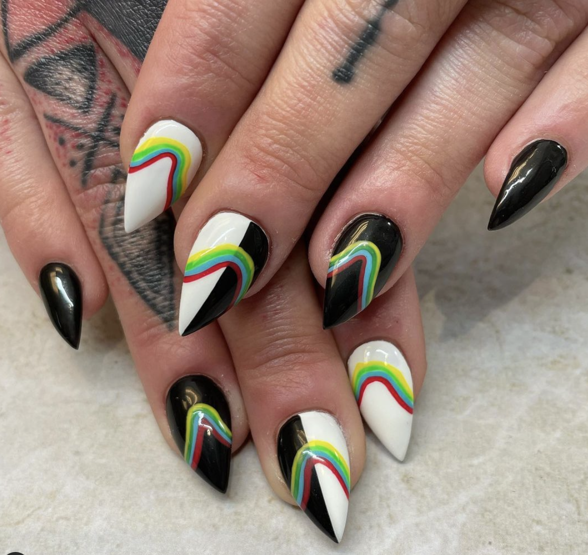 rainbow with black and white nails