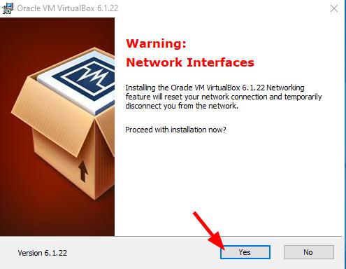 Virtual Hacking Lab - VirtualBox installation warning. Source: nudesystems.com