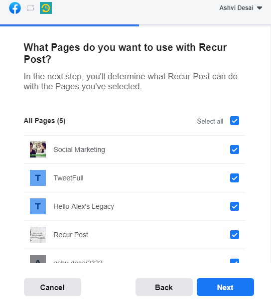 select the fb page - How to connect your Instagram Business Profile -  recurpost - social media scheduler