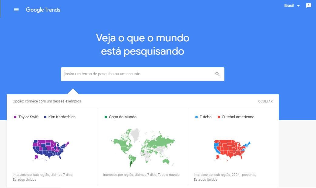 Ferramenta de pesquisa de palavras-chave Google Trends