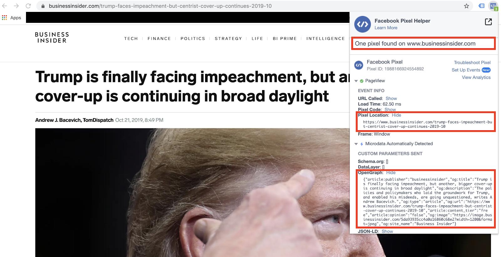 Facebook pixel data inside an article on Business Insider