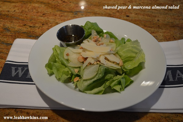 shaved pear and marcona almond salad