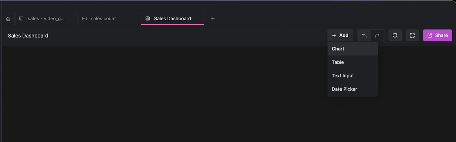 arctype dashboard add chart