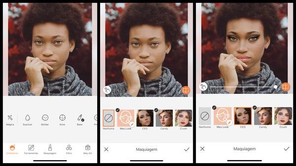 foto de uma mulher negra com a mão no rosto sendo editada pelo AirBrush