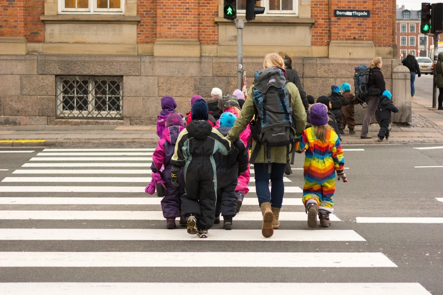 Kids Crosswalks on road