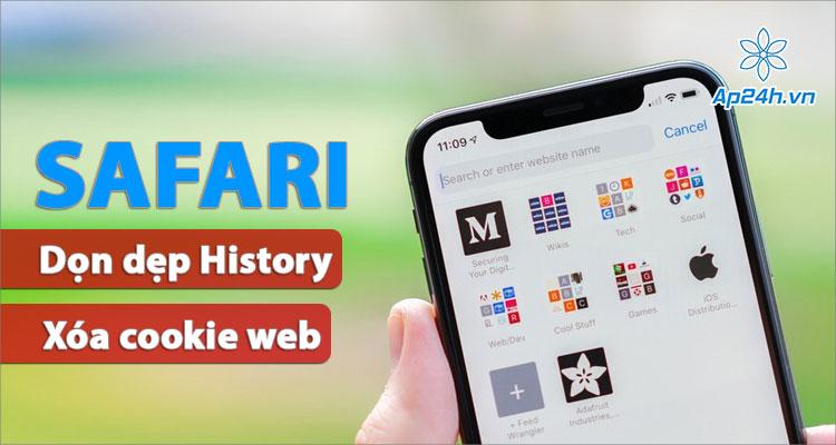 Hướng dẫn dọn lịch sử, xóa cookie Safari iPhone và iPad