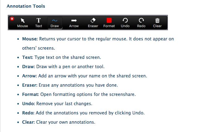 Screenshot showing the various annotation tools available within Zoom
