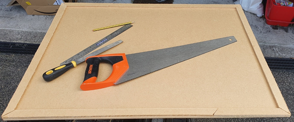 The initial board shape created - MDF with tools resting on top of it