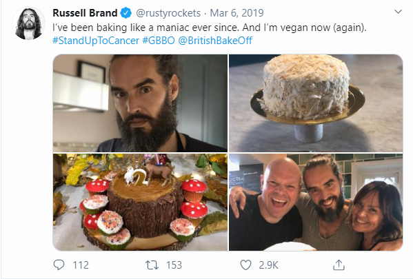 Actor Russell Brand tweeting that he is vegan again.