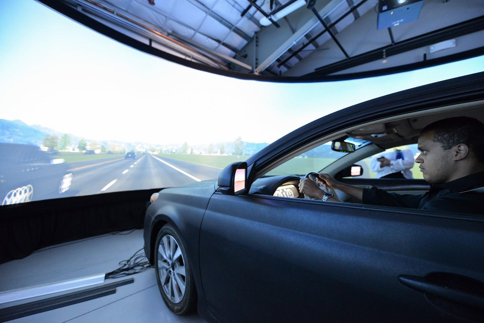 Congressional staff member in CARS driving simulator