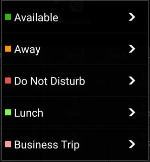"""Status instellen"" in 3CX Android app"