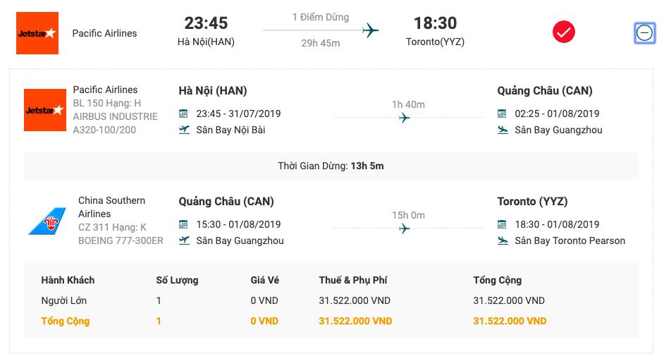 Vé máy bay từ Hà Nội đi Toronto của Pacific Airlines