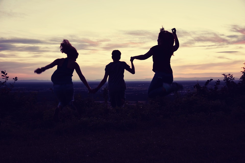 Family, Sunset, Friendship, Friends, Summer, Jump