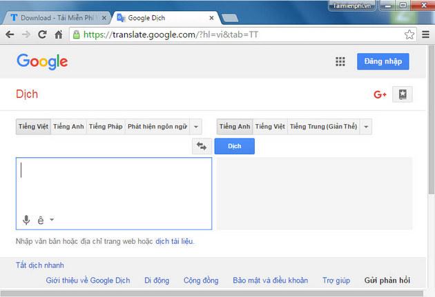 Giao diện của Google dịch từ tiếng việt sang tiếng anh trên mạng Internet