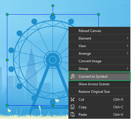 Convert to symbols in Saola Animate 3
