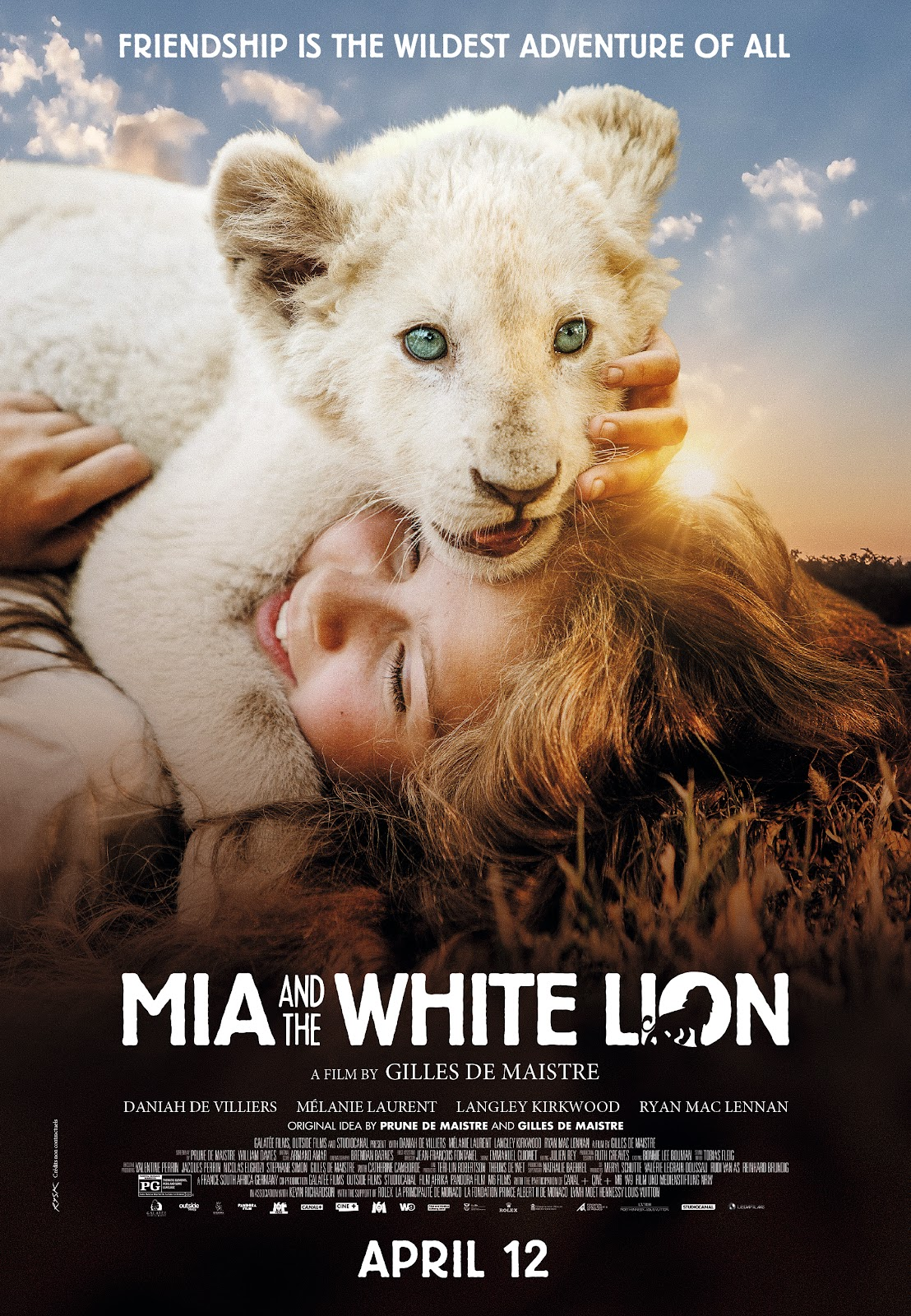 Official movie poster for Mia and the White Lion, opening in U.S. theaters, April 12, 2019.