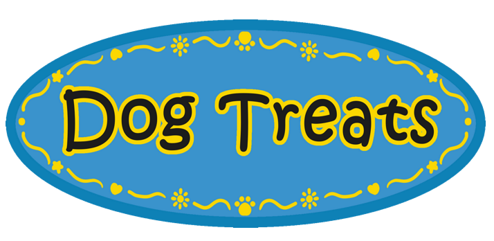 Rounded Blue Dog Treats Sticker Label with Yellow Border