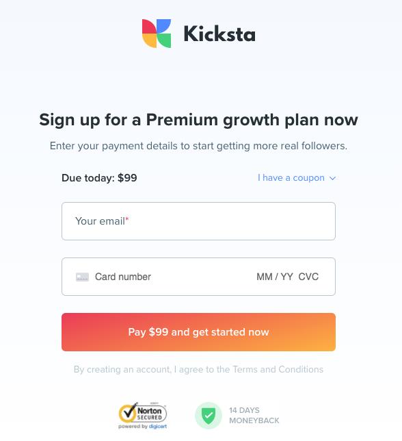 Kicksta sign up page