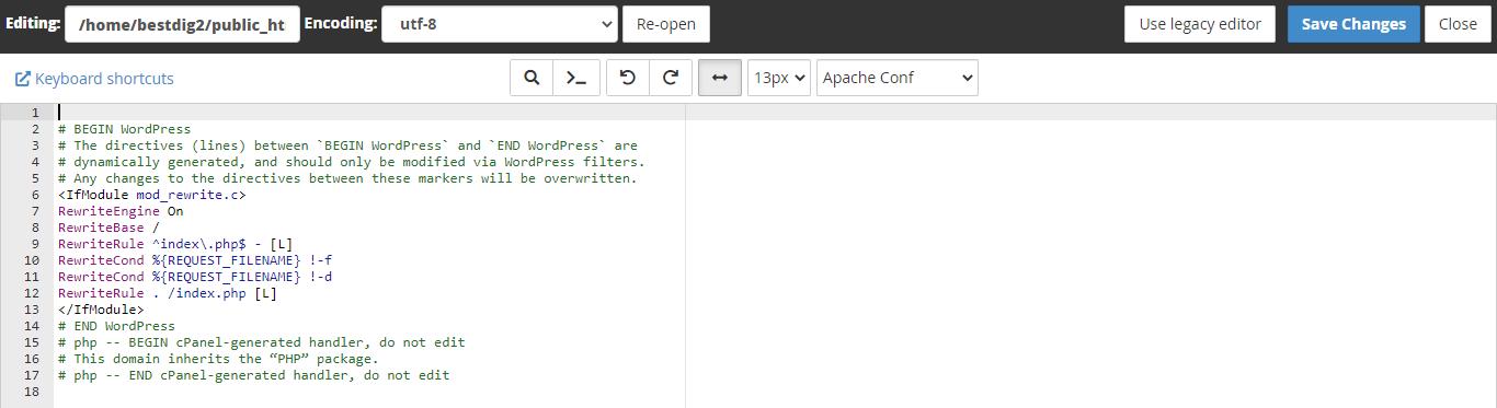 Editing htaccess Files