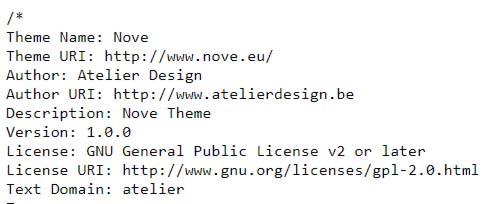 Informações e detalhes do tema utilizado pelo site nove.eu