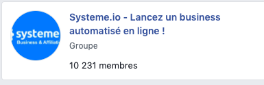 Groupe Facebook Systeme.io