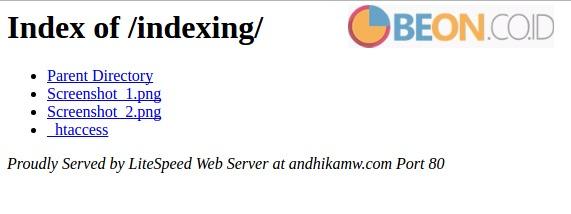 setting indexing folder pada cpanel dan .htaccess