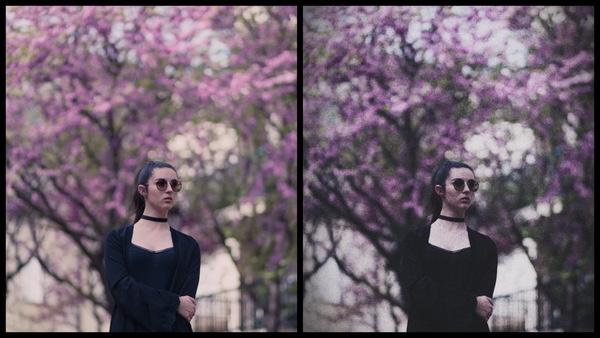 Montagem de duas fotos mostrando o antes e depois da edição.
