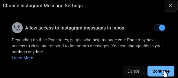 Allow access to Instagram messages in Inbox