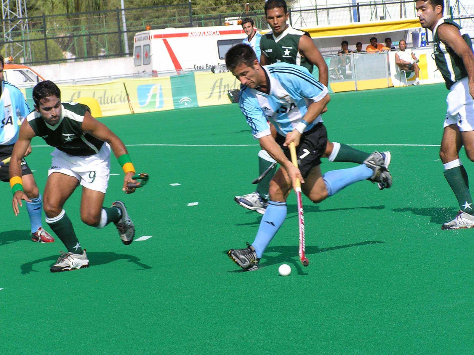 A game of field hockey