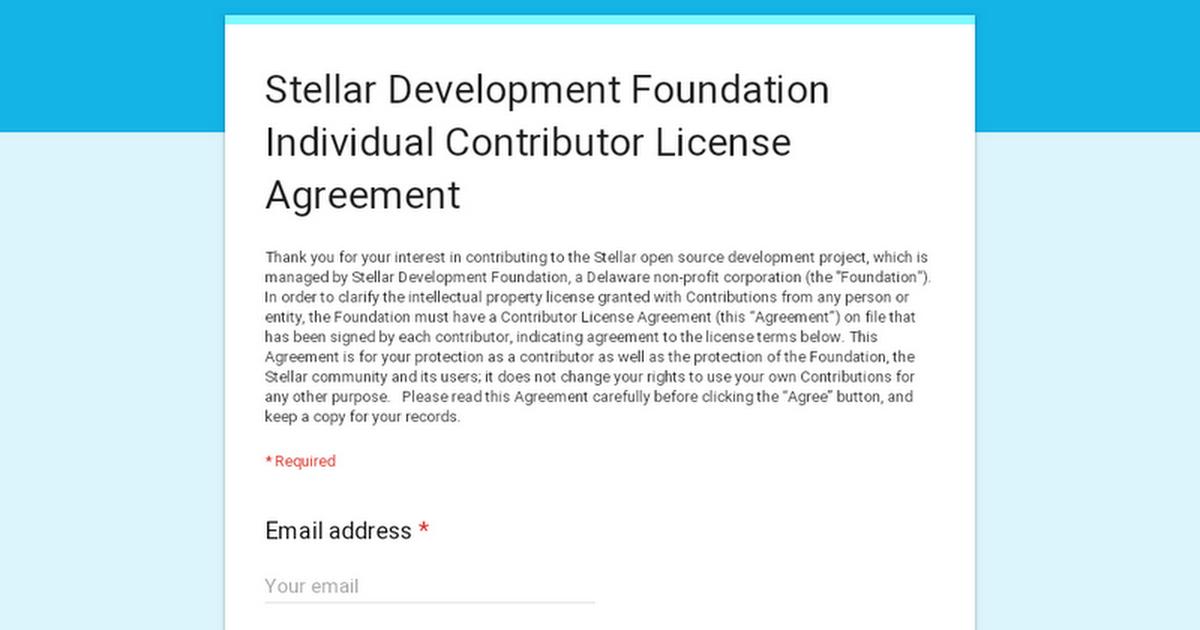 Stellar Development Foundation Individual Contributor License