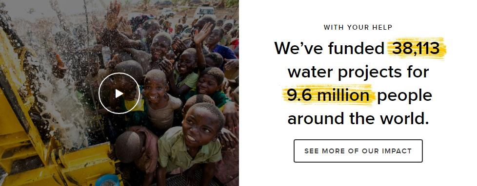 This example by Charity Water is excellent because it not only offers the reader's a quick glance at what they've done but offers more details in the call to action (CTA).