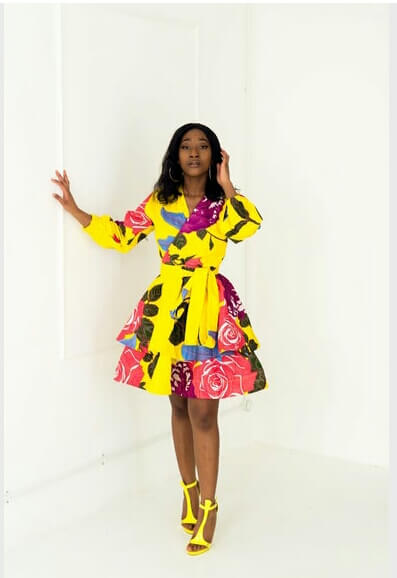 BRIGHT YELLOW african print dress style