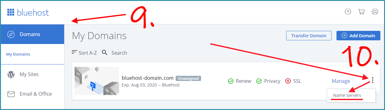 Domain page on your bluehost account page