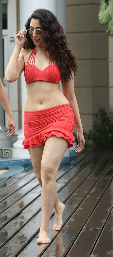 Tamannaah Bhatia Sexy in Red Bikini Pics Navel Queens