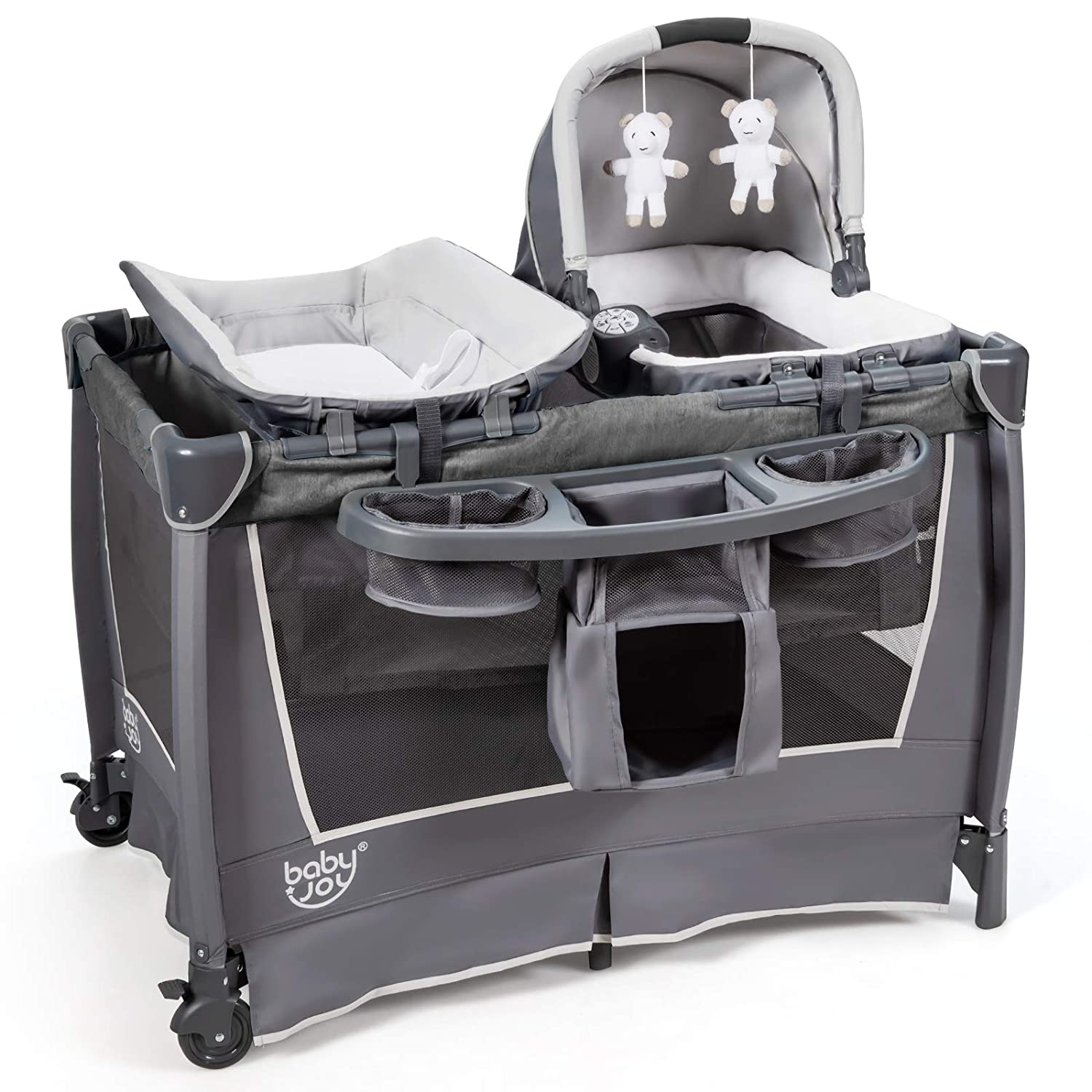 BABY JOY 4 in 1 Portable Baby Playard with Bassinet