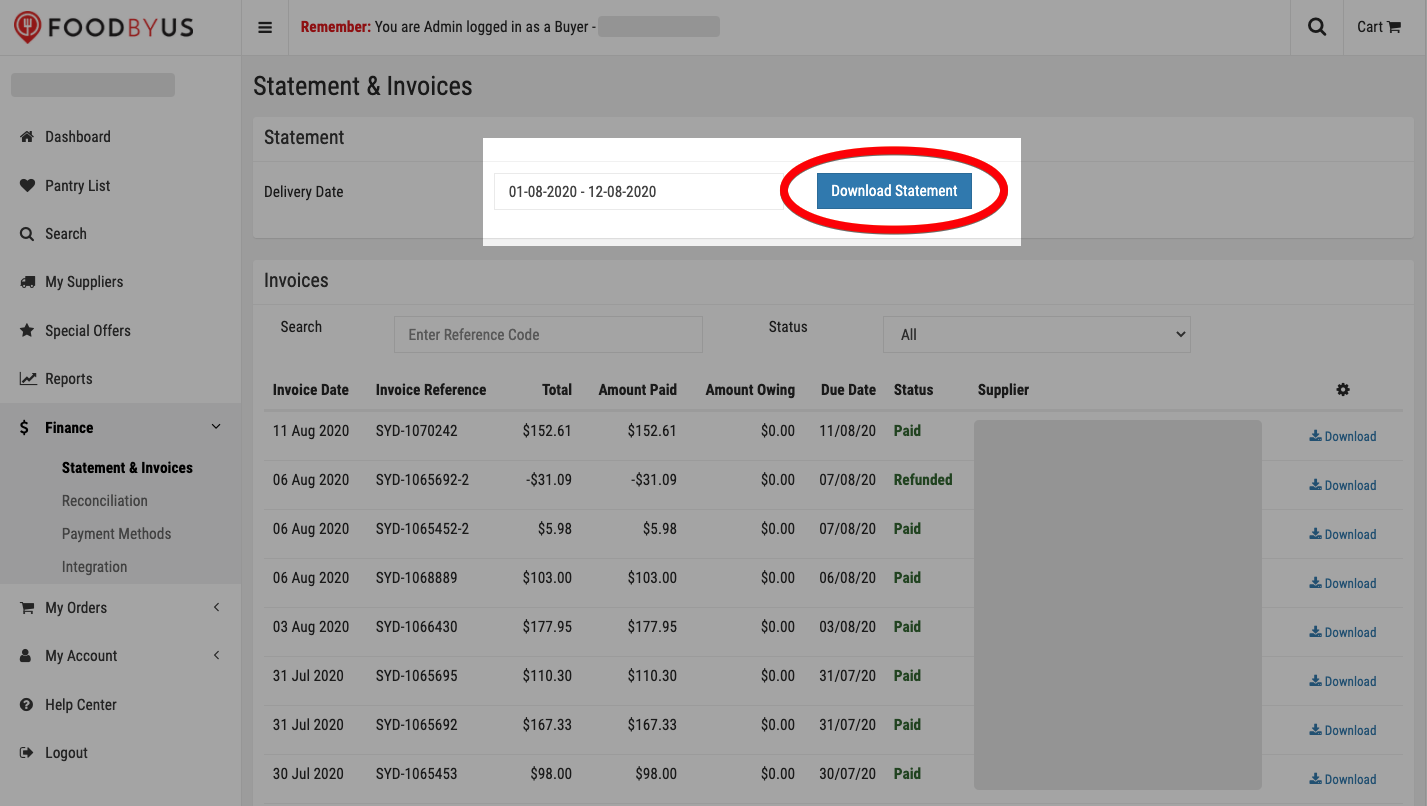 FoodByUs_dashboard_statement_and_invoices_download_statement