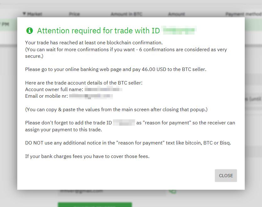 Seller payment details