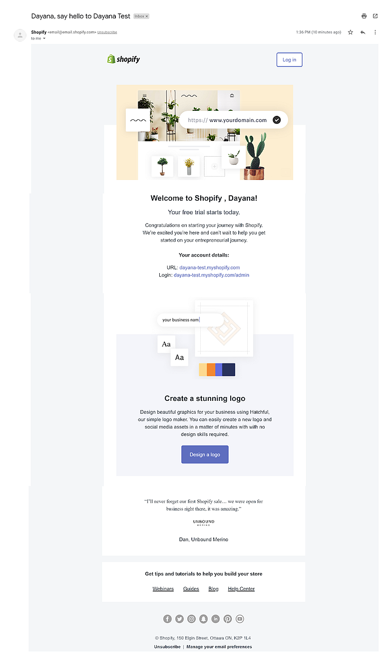 Welcome to Shopify onboarding email gets users excited about their journey.