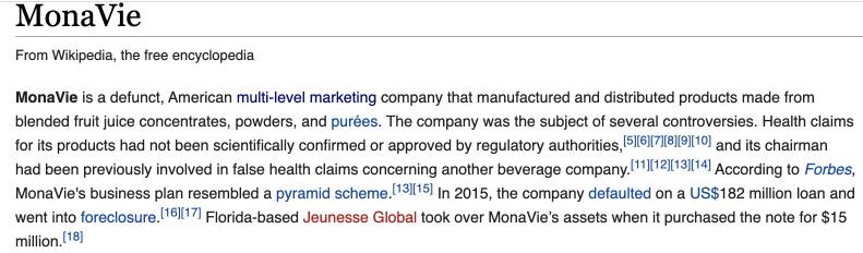 Information about MonaVie in Wikipedia