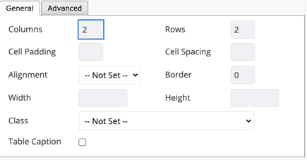 Options dialog for table formatting