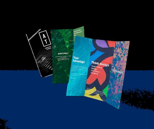 Three floating brochures